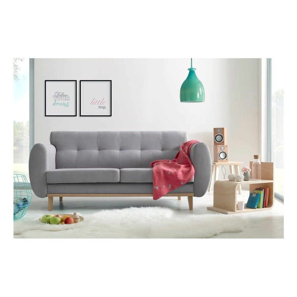 Jasnoszara sofa 3-osobowa Bobochic Paris Viking