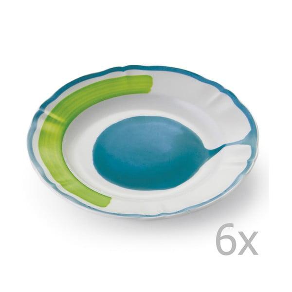 Zestaw 6 talerzyków deserowych Giotto Green/Turquoise