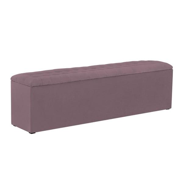 Fioletowa ławka tapicerowana ze schowkiem Windsor & Co Sofas Nova, 180x47 cm