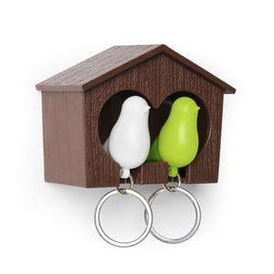 Budka z zawieszkami na klucze QUALY Duo Sparrow, brązowa/biała/zielona