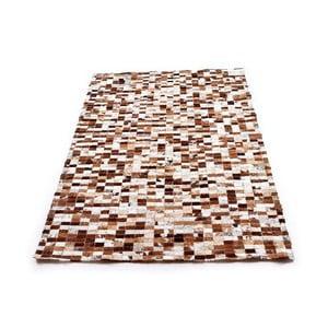Brązowy dywan mozajkowy ze skóry, 200x150 cm