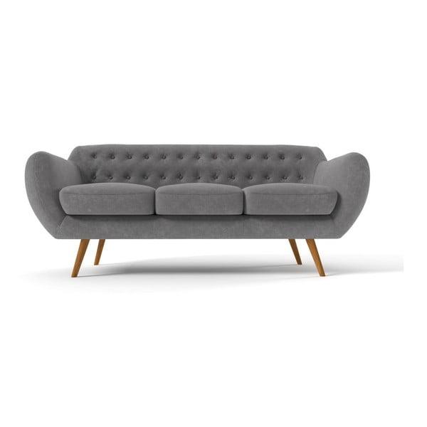 Ciemnoszara   sofa trzyosobowa Indigo z fioletowymi guzikami Wintech Indigo