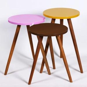 Zestaw 3 stolików Kate Louise Round (brązowy, różowy, żółty)