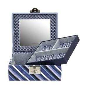 Niebieska szkatułka Friedrich Lederwaren Diagona, 17x15 cm