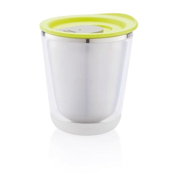 Biały kubek termiczny z zielonym wieczkiem XD Design Dia