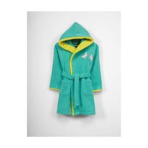 Dětský zelený bavlněný župan s kapucí, 3-6 let