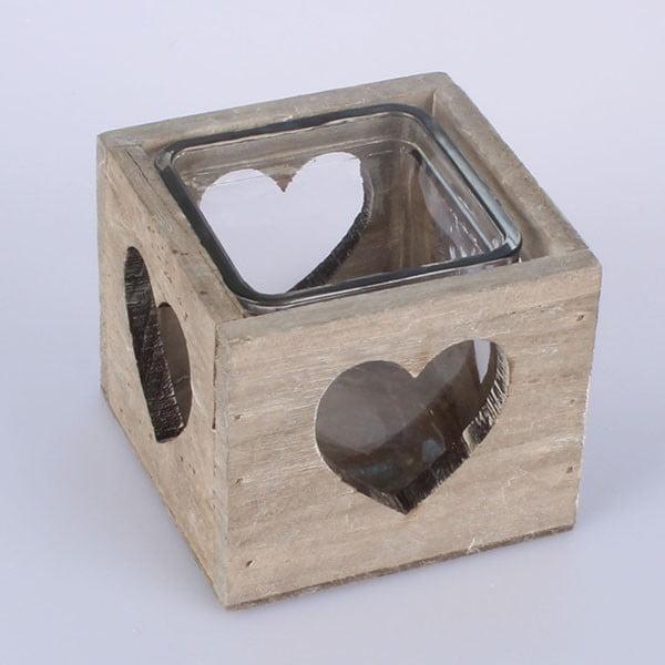 Drewniany świecznik Heart