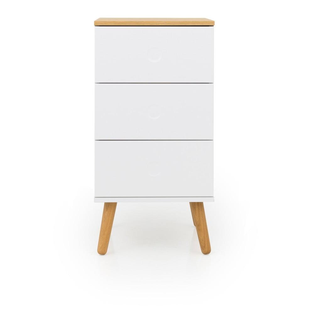 Biała szafka z detalami w dekorze drewna dębowego i 3 szufladami Tenzo Dot, szer. 40 cm