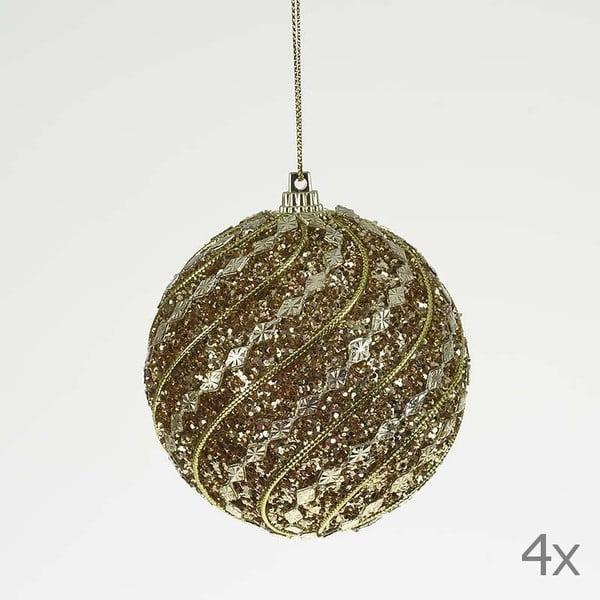 Zestaw bombek Ball Gold Glitter, 4 szt.