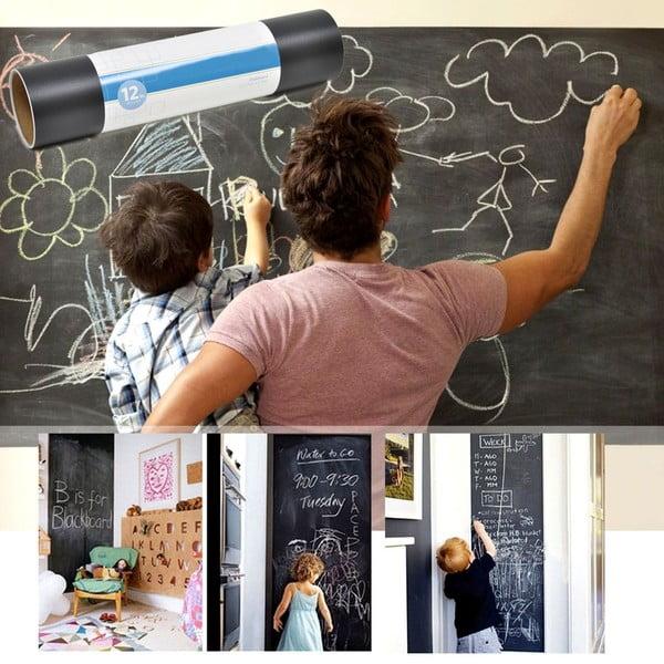 Uniwerslana tablica samoprzylepna Blackboard + 5 kříd, 45x200 cm