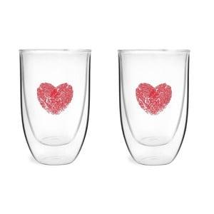 Zestaw 2 szklanek z podwójną ścianką s potiskem Vialli design, 350 ml