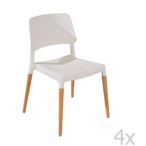 Zestaw 4 krzeseł do jadalni Molde White