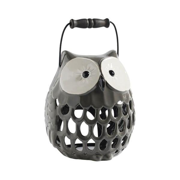 Świecznik ceramiczny Owl, szary