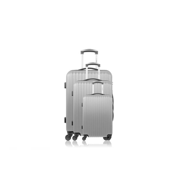 Zestaw 3 walizek Roues Cadenas Silver, 105 l/72 l/40 l