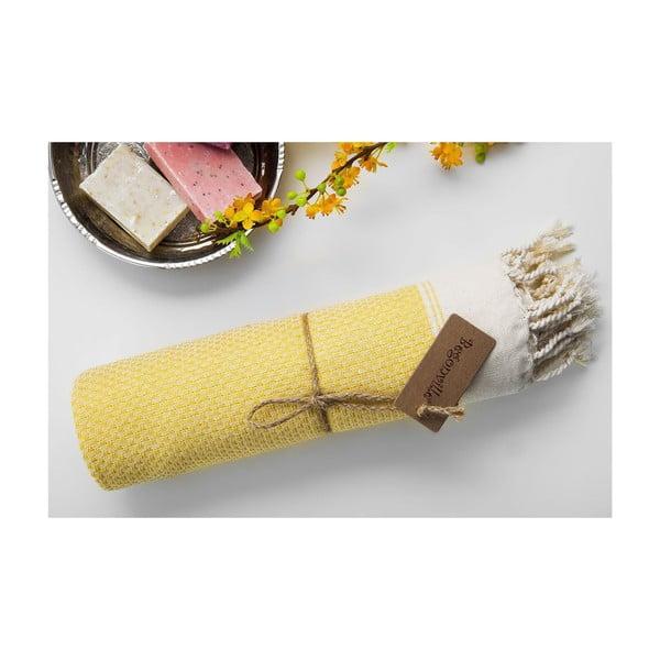 Ręcznik hamam Jacquard Yellow, 100x180 cm