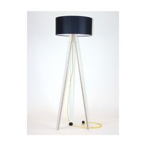 Biała lampa stojąca z czarnym abażurem i żółtym kablem Ragaba Wanda