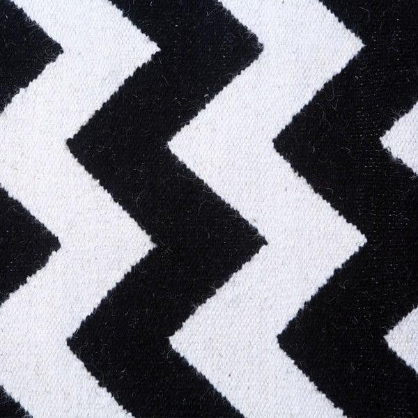 Dywan wełniany Geometry Zic Zac Black & White, 200x300 cm