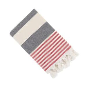 Czerwono-biały ręcznik Hammam Stripe, 90x150 cm