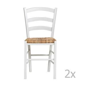 Zestaw 2 białych krzeseł do jadalni Marckeric Paloma