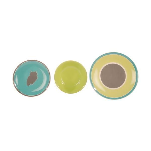 Komplet 18 porcelanowych talerzy Ramponi Verde Turchese