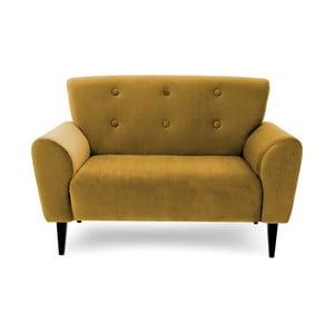 Musztardowa sofa dwuosobowa Vivonita Klara