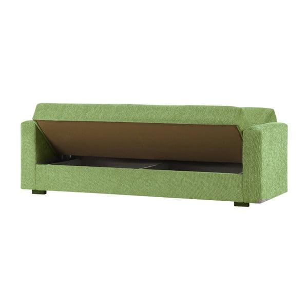 Zielona trzyosobowa sofa rozkładana ze schowkiem Esidra Relax