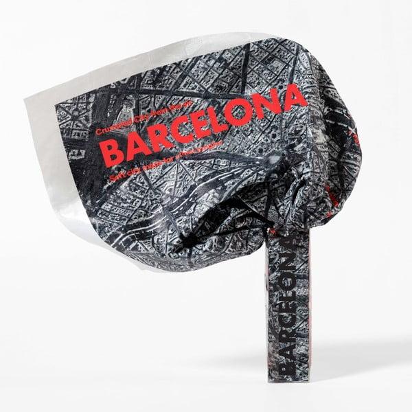 Zgnieciona mapa satelitarna Barcelony