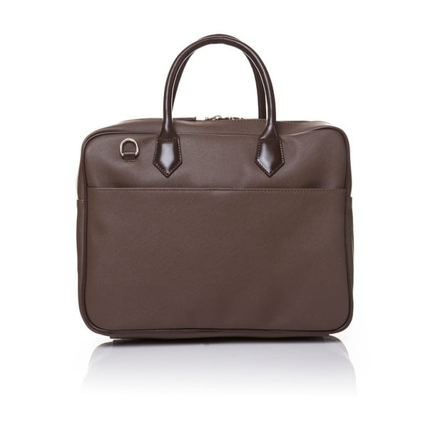 Skórzana torebka do ręki Marta Ponti Case, jasnobrązowa/ciemnobrązowa