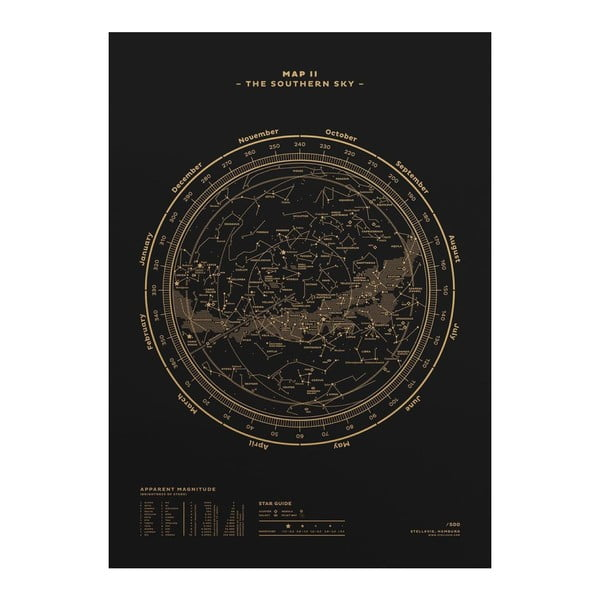 Plakat The Southern Sky Gold/Black, 50x70 cm