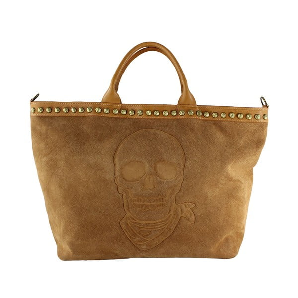 Skórzana torebka Skull, koniakowa
