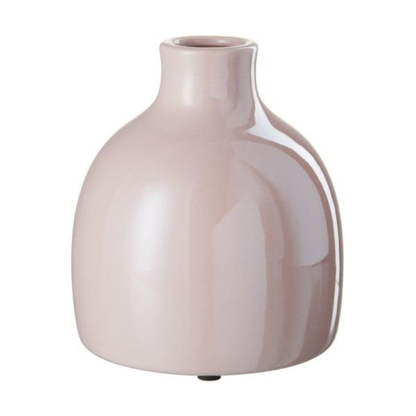 Różowy kamionkowy wazon J-Line, 15x15x13 cm