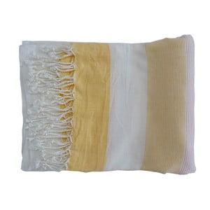 Żółty ręcznie tkany ręcznik z bawełny premium Gokku,100x180 cm