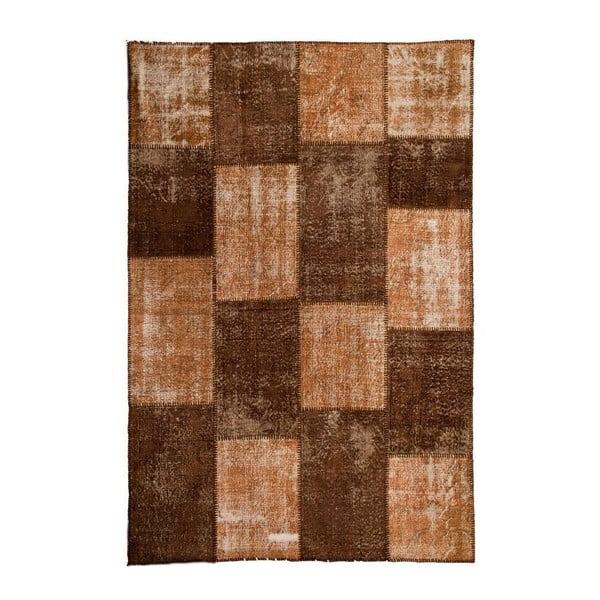 Dywan wełniany Allmode Patchwork Brown, 180x120 cm