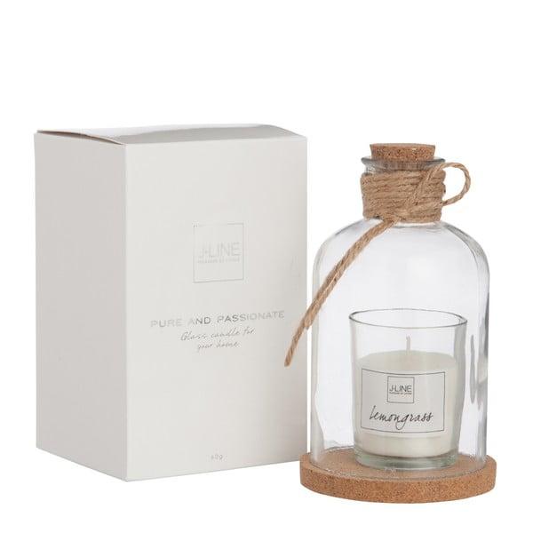 Świeczka zapachowa ze szklaną kopułką Bottle Candle 8x14 cm, trawa cytrynowa