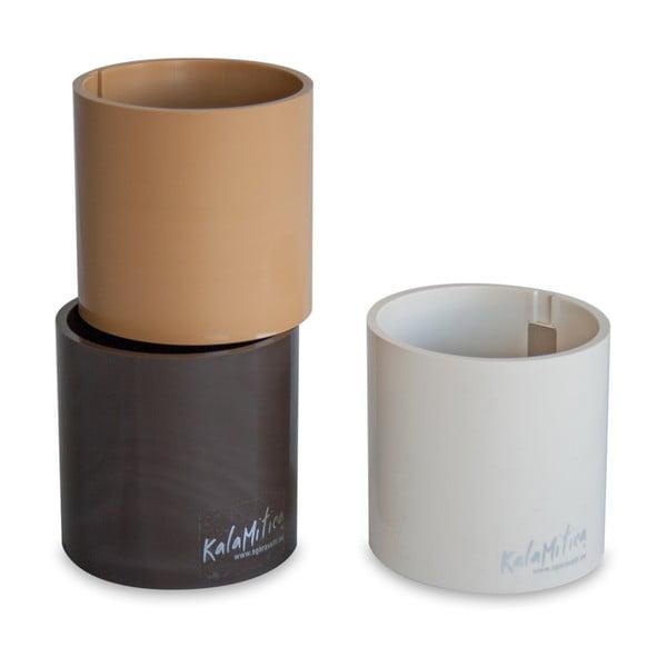 Zestaw 3 magnetycznych doniczek Cylinder Brown, duży