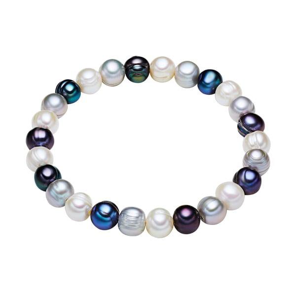 Niebiesko-biała   perłowa bransoletka Chakra Pearls, 21 cm