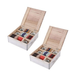 Zestaw 2 białych pudełek na herbatę Mendler Shabby