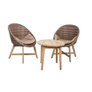 Zestaw 2 foteli ogrodowych ze stolikiem z drewna akacjowego ADDU Reno