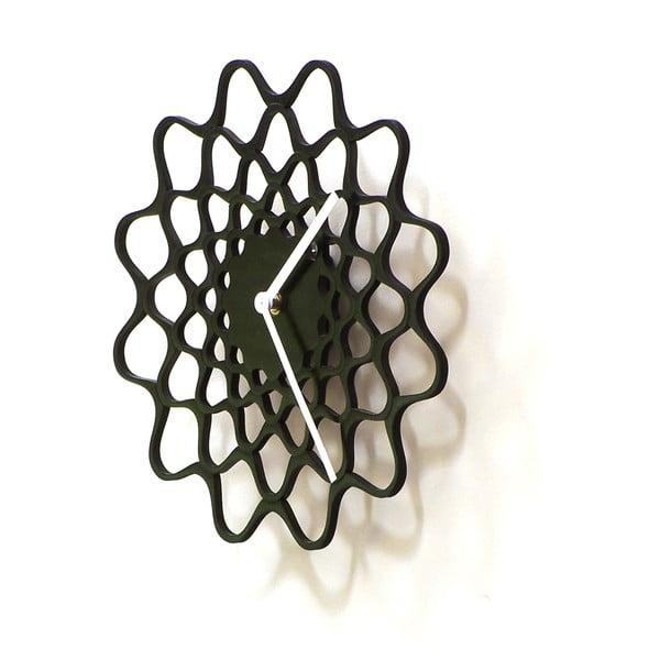 Zegar drewniany Embroidery, czarny, 29 cm