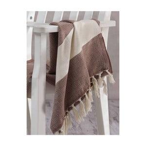 Brązowobiały ręcznik Hammam Elmas, 100x180cm