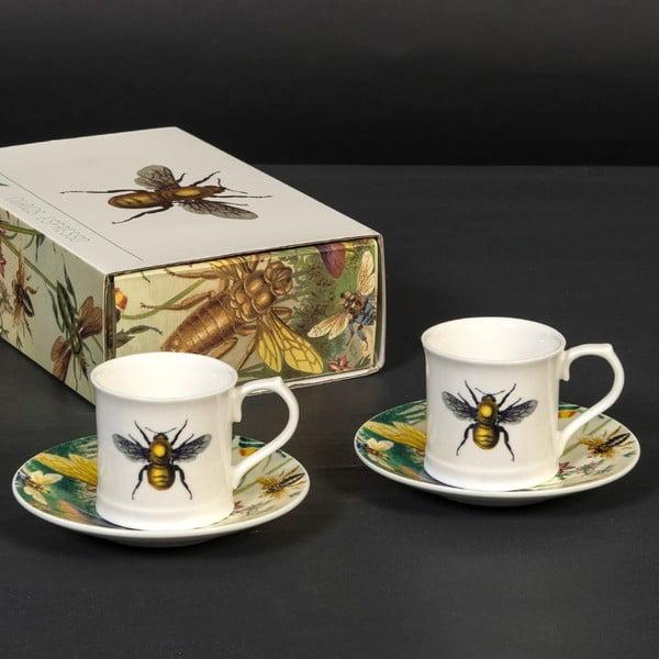 Zestaw 2 filiżanek ze spodkiem Curious Bee