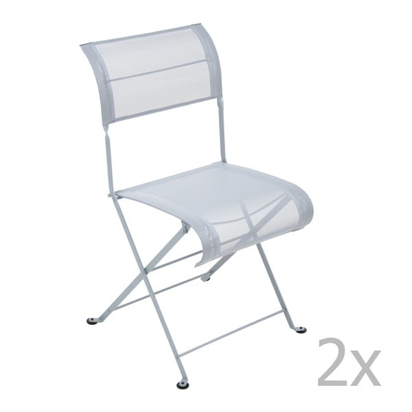 Zestaw 2 jasnoszarych krzeseł składanych Fermob Dune