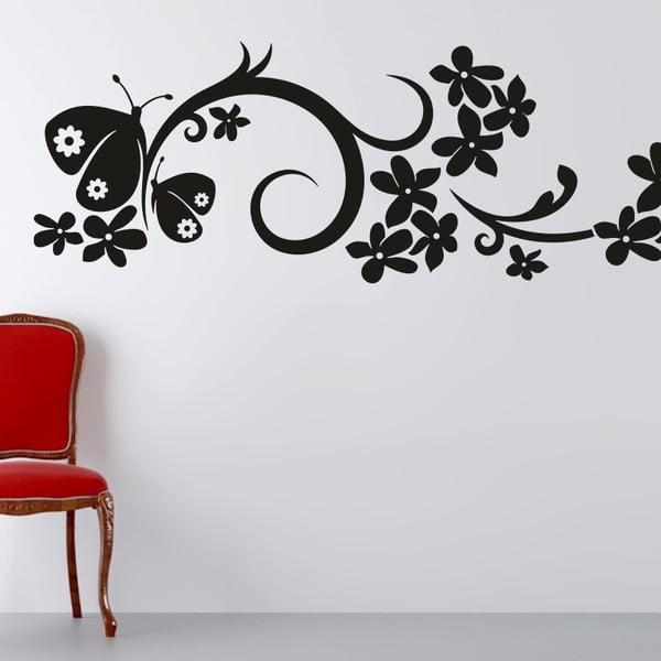 Naklejka ścienna Ornament kwiaty i motyle, czerń