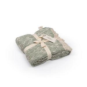 Zielono-szara narzuta bawełniana, 130x170 cm