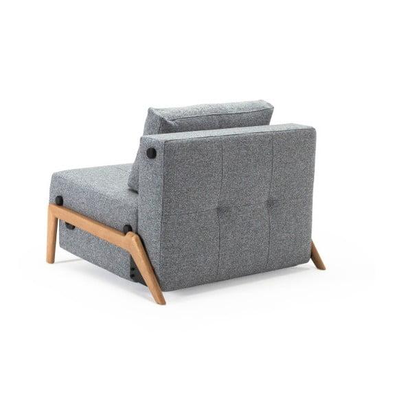 Szary rozkładany fotel Innovation Cubed Wood Twist Granite
