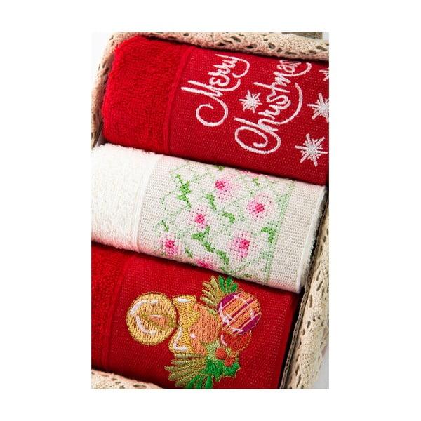 Zestaw 3 ręczników Xmas V33, 30x50 cm