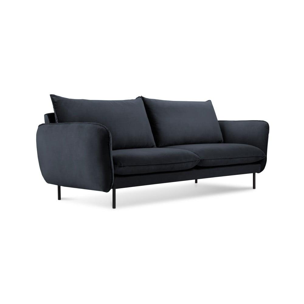 Ciemnoniebieska aksamitna sofa Cosmopolitan Design Vienna, 160 cm