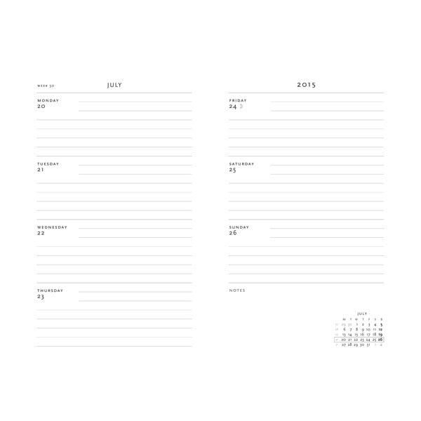 Organizer 2015 Plume 7x9 cm