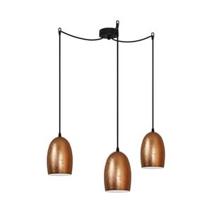 Miedziana potrójna lampa wisząca z czarnymi kablami i czarną oprawką Sotto Luce Ume
