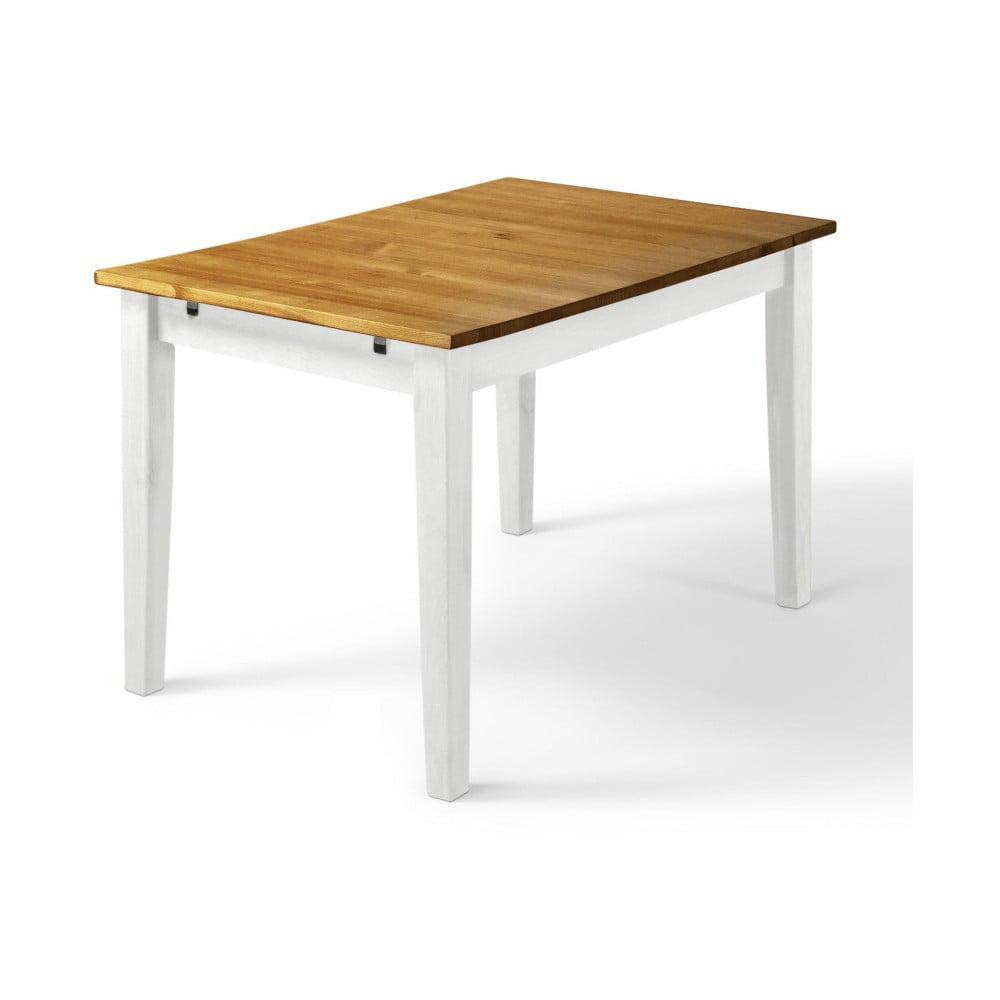 Stół z litego drewna sosnowego z białymi nogami Støraa Daisy, 75x120cm